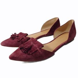 J.Crew Wine Suede D'Orsay Tassel Pointy Toe Flats